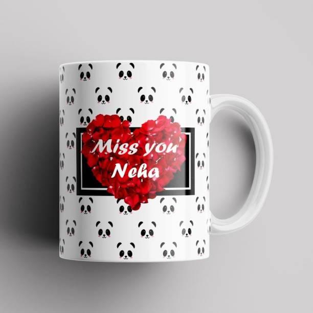 Beautum Model EBMSU014348 MISS YOU Neha Name Printed Best Gift White Ceramic. Gift for girlfriend, Gift for boyfriend, Gift for best friend Ceramic Coffee Mug