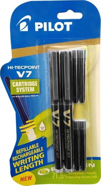 PILOT Hi-tecpoint V7 cartridge System ( 2 Black Pen+ 4 Black cartridge) Roller Ball Pen