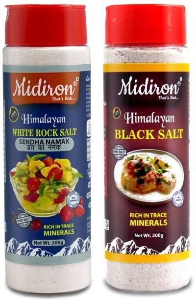 Midiron Himalayan Rock Salt & Black Salt Table Sprinkler Jar Sendha Namak & Kala Namak (200 gm each) Rock Salt