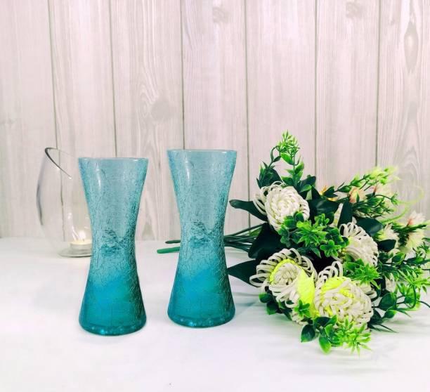 FAACRAFT Curve Glass Designer Small Home Decorative Flower Vases for Home Decor, Side Corners, Living Room, Dining Room, Center Table, Bedroom, Centerpiece Steel Blue Set of 2 Glass Vase