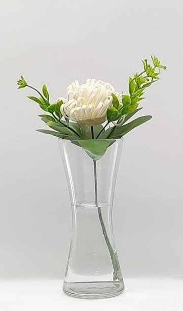 FAACRAFT Curve Small Tapper Transperent Hurricane Home Decorative Flower Vases for Home Decor, Side Corners, Living Room, Dining Room, Center Table, Bedroom, Centerpiece Transperent Glass Vase