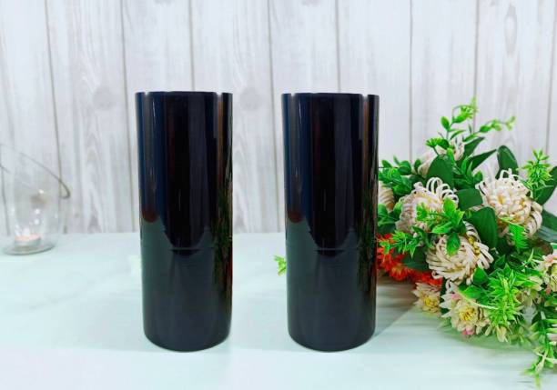 FAACRAFT Cylinder Glass Designer Small Home Decorative Flower Vases for Home Decor, Side Corners, Living Room, Dining Room, Center Table, Bedroom, Centerpiece Black Vases Glass Vase