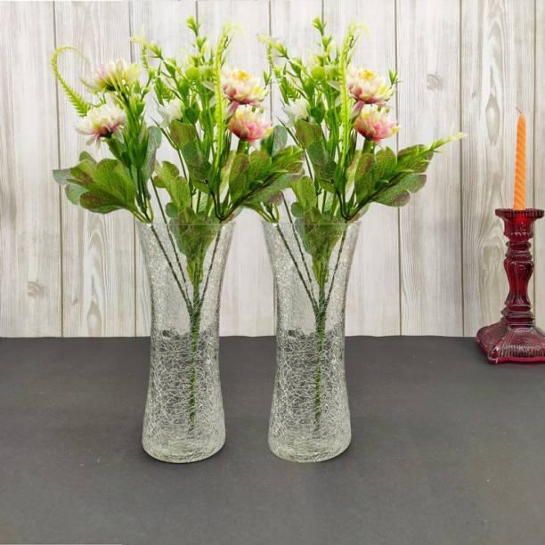 FAACRAFT Crack Plain Home Decorative Flower Vases for Home Decor, Side Corners, Living Room, Dining Room, Center Table, Bedroom, Centerpiece Transperent Set of 2 Glass Vase