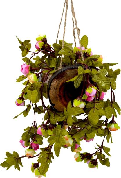 Flipkart Perfect Homes Artificial Pinkish Cream Falling Flowers Hanging in Wood Buckle Pot Wild Artificial Plant  with Pot