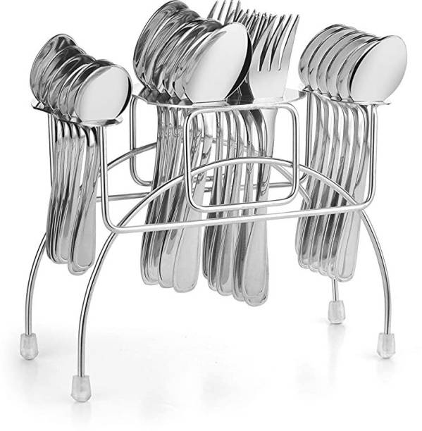 Classic Essentials Stainless Steel Cutlery Stand Spoon and Fork Rack Holder Stainless Steel Cutlery Set