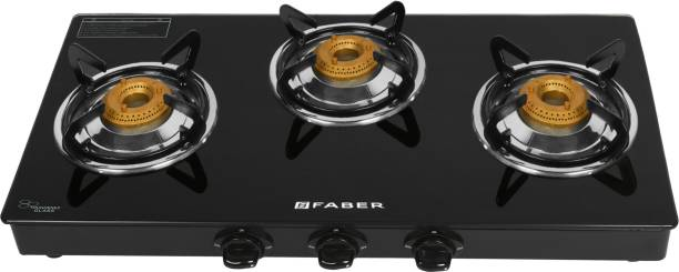 FABER Power 3BB BK Glass Manual Gas Stove