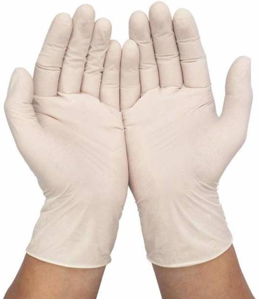 RRHR SALES Food Grade Powder-Free Latex Examination Gloves Water Proof Home Cleaning Gloves, Industrial White Rubber Gloves Latex Examination Gloves PACK OF 100 Latex Surgical Gloves