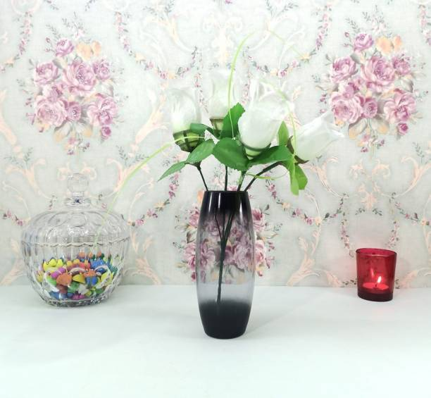FAACRAFT Oval Two Tone Glass Designer Small Home Decorative Flower Vases for Home Decor, Side Corners, Living Room, Dining Room, Center Table, Bedroom, Centerpiece Glass Vase