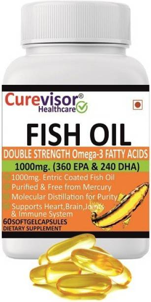 Curevisor Omega-3 Double Strength Fish Oil 1000mg (360mg EPA & 240mg DHA)-60 Softgels