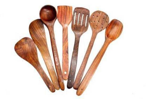 SUNWOOD ENTERPRISES SS handicraft Wooden Non-Stick Serving and Cooking Spoon Kitchen Tools Utensil, Set of 7 Wooden Olive Spoon, Serving Spoon, Serving Spoon Set (Pack of 7) Disposable Wooden Serving Spoon Set
