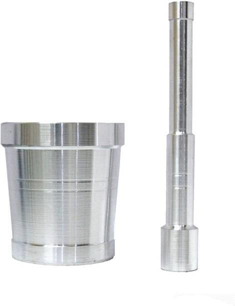 "AXOLOTL Aluminium Kharal/Khalbatta/Mortar and Pestle/Imam Dasta/Ohkli Musal/Okhli Masher (Diameter) (3.5"" Inch, Silver) for Modern Kitchens Aluminium Masher"