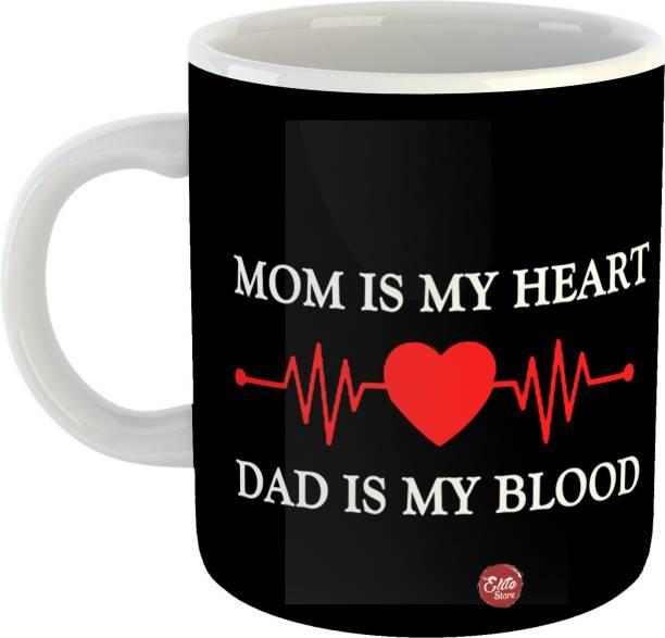 The Elite Store Mom dad heartbeat Printed Ceramic Coffee Mug