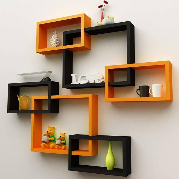 Decorhand Wall Mount Set of 6 Intersecting Wall Shelves MDF (Medium Density Fiber) Wall Shelf