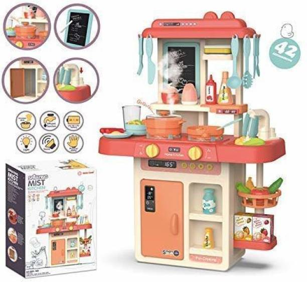 himanshu tex 42-Piece Kitchen Set, Smoky, Music,Real Water Tap, Actually Fell of Kitchen for Your Kids Don,t Miss