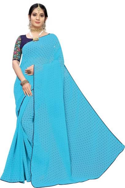 Samah Printed, Embroidered, Embellished Fashion Chiffon Saree