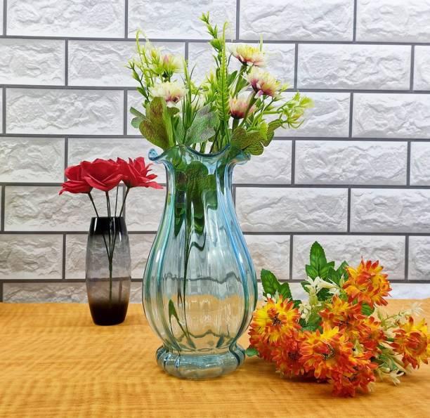 FAACRAFT Home Decorative Light Blue Fenton Flower Vases for Home Decor, Side Corners, Living Room, Dining Room, Center Table, Bedroom, Centerpiece Glass Vase