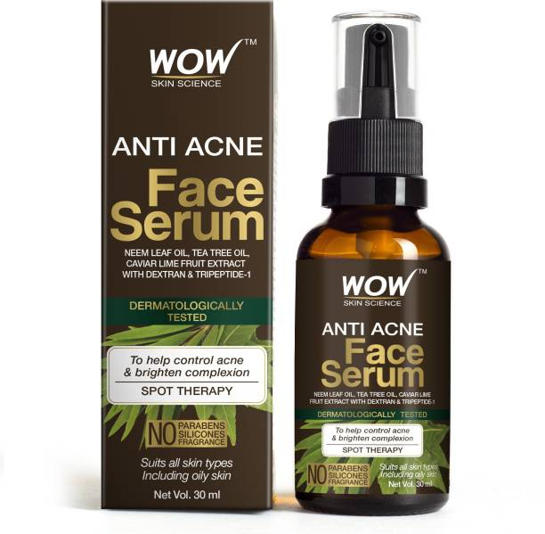 WOW SKIN SCIENCE Anti Acne Face Serum - Natural Neem Leaf Oil, Tea Tree Oil, Caviar Lime Fruit Extract - Spot Therapy - No Parabens, Silicones & Fragrance - 30 mL Glass Bottle