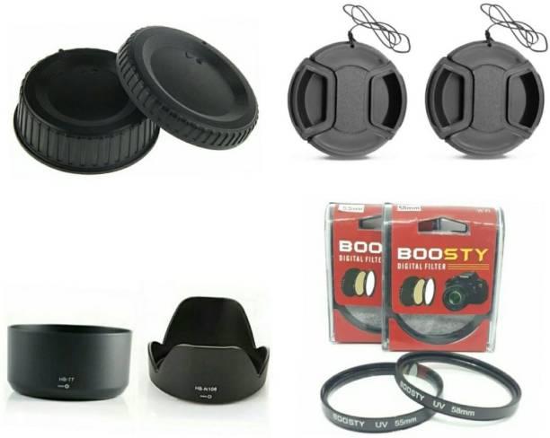 BOOSTY D5300 D5500 D5600 combo offer ( hood, filter,lens cap and Rear caps) FOR 18-55mm and 70-300mm lens  Lens Hood