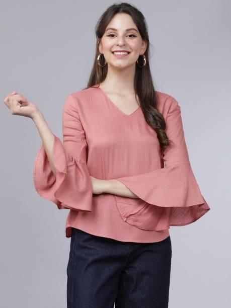 Tokyo Talkies Casual Bell Sleeve Solid Women Pink Top