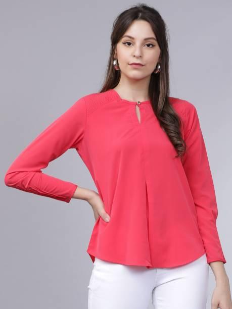 Tokyo Talkies Casual Full Sleeve Solid Women Pink Top