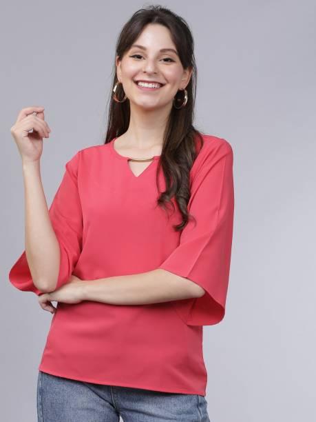 Tokyo Talkies Casual 3/4 Sleeve Solid Women Pink Top