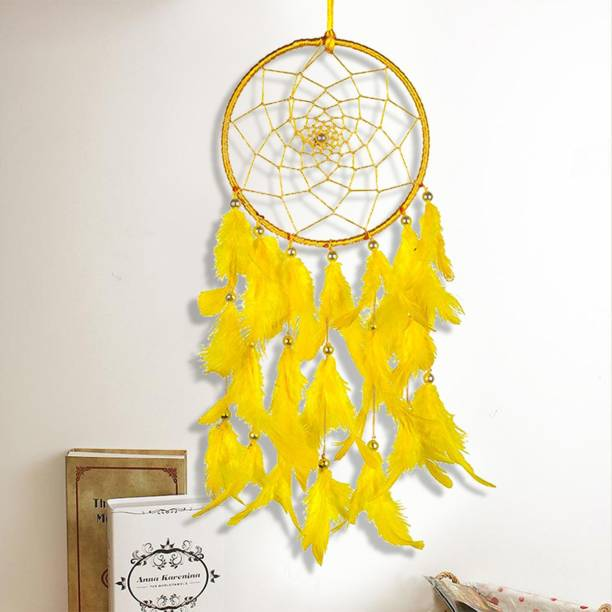 DULI Wall Hanging Handmade Wall Art for Bedrooms, Office, Balcony, Outdoors, Garden, Home Wall, Hanging Design, Height 49 cm, Medium, Brings Positive Energy� Feather Dream Catcher