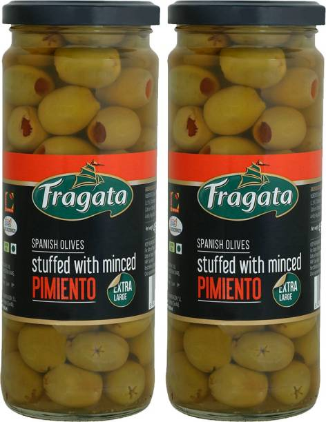 Fragata Green Olives Stuffed with Minced Pimiento 450g (Pack of 2) Olives