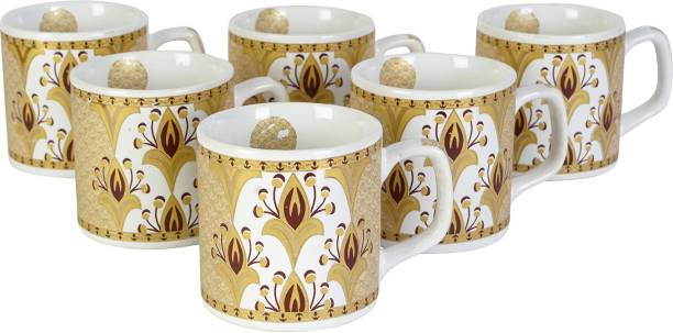 FARKRAFT Pack of 6 Ceramic Tea and Coffee Cups
