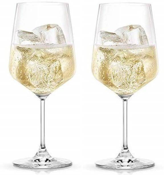 New Town (Pack of 2) Cut Wine Glass for party (Pack of 2) , 360 ml ,Transparent Glass Glass