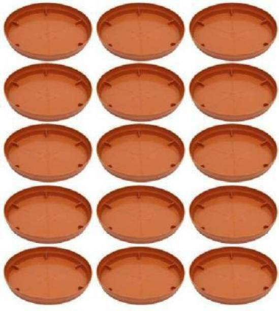 spyLove Flower Pot Plant Saucer Base Plate Planter Tray 9 inch Terracotta (Set of 15 Plant Container Set Plant Container Set (Pack of 15, Plastic) Plant Container Set