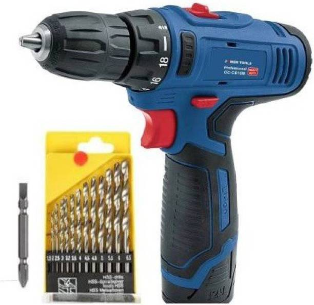 SWF Heavy duty Cordless screwdriver drill 12V with 13pcs bit set and 1 screwdriver bit Collated Screw Gun