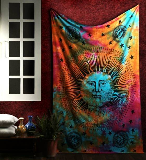 Art World Psychedelic Sun Moon Stars Tie Dye Mandala Tapestry Hippie Hippy Celestial Wall Hanging Indian Bohemian Tapestries Twin (Multi Color, Twin (54x84 Inches)) Sun Moon Stars Tapestry