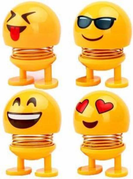 Welrock Emoji Smiley Spring Doll for Car (Pack 4)
