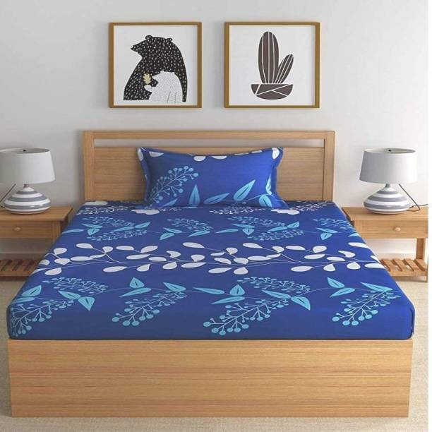 Home Stylish 140 TC Cotton Single 3D Printed Bedsheet