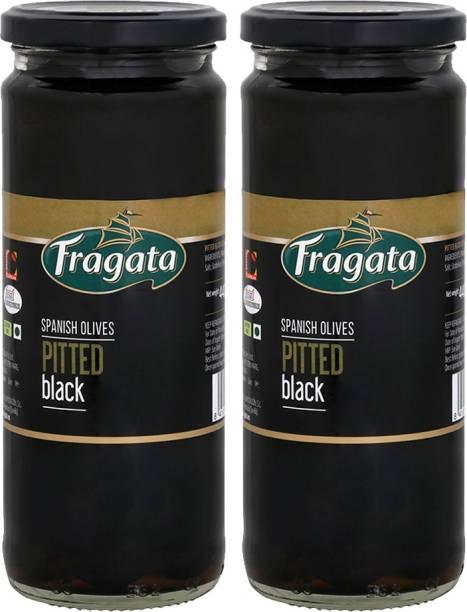 Fragata Pitted Black Olives, 440g olive (Pack of 2) Olives