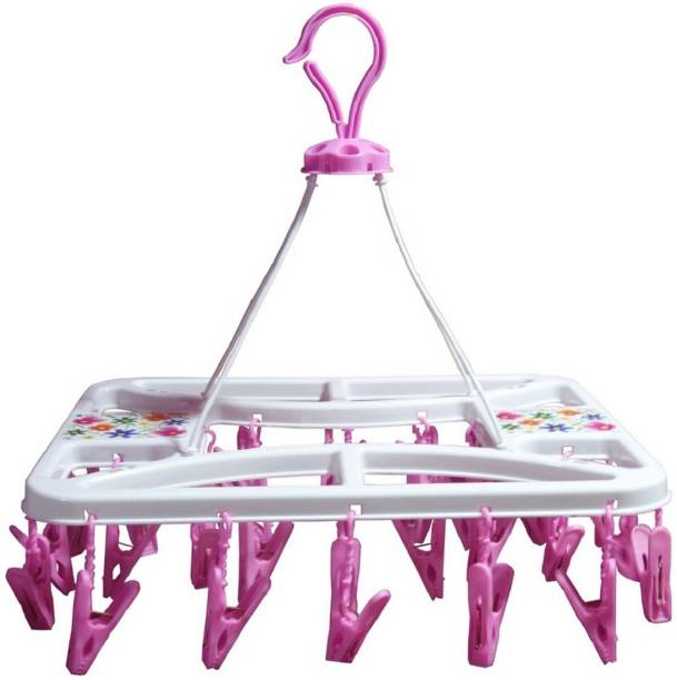 SWAMEE BEST QUALITY 28 Nos CLOTH CLIP HANGING /PEGS HANGING , PLASTIC CEILING CLOTH DRYING STAND , CLOSET ORGANISER Plastic Cloth Clips