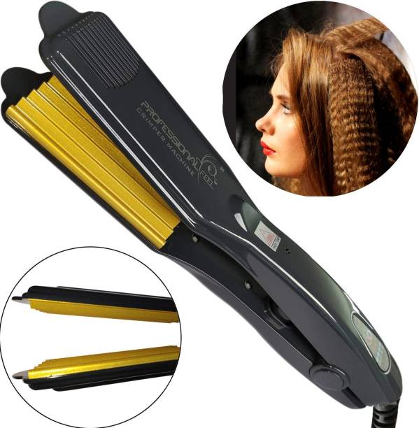 Professional Hair Crimper With 4 X Protection Coating Gold Women's Crimping Styler Machine for Hair Saloon 4 X Protection Coating Gold Electric Hair Styler Corded Crimper