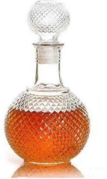 VINAR Round Ball Shape Whiskey Wine Beer Brandy Water Champagne Drinking Glass Bottle Decanter w/Cap Stopper (1, 1000 ml) Decanter