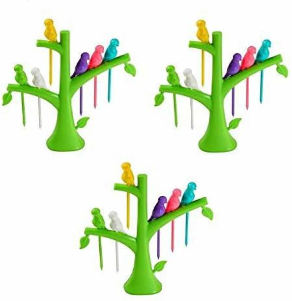 AKsells Plastic Bird Fruit Fork Set of 3 with Tree Stand, Set of 18 Fork Plastic Fruit Fork Set