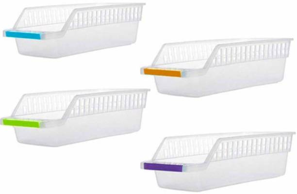 Floraware Plastic Fridge Storage Organizer Racks, Set of 4 Containers Kitchen Rack