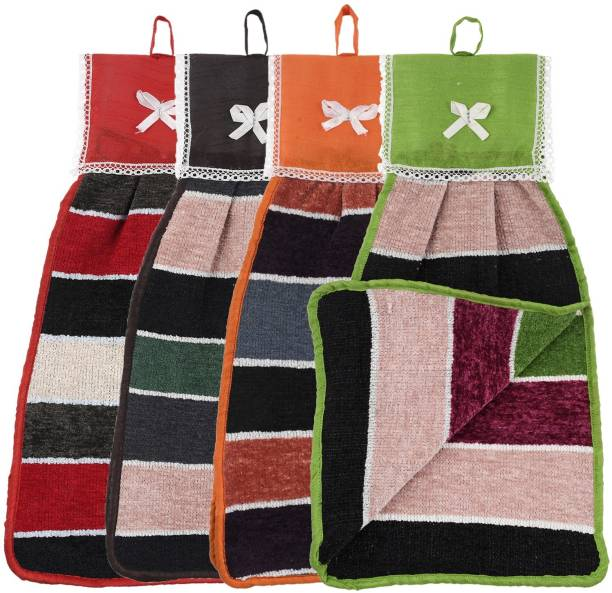 KUBER INDUSTRIES Hanging Cotton 4 Pieces Cotton Washbasin Napkin/Hand Towel for Kitchen and Bathroom (Multi) Multicolor Napkins