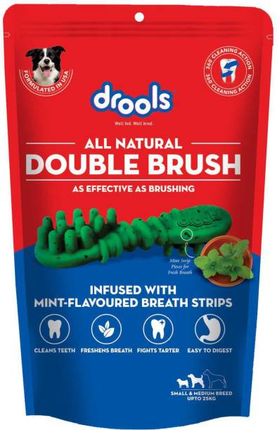 drools Double Brush for Small/Medium Breed dogs, Dental Chicken Dog Treat