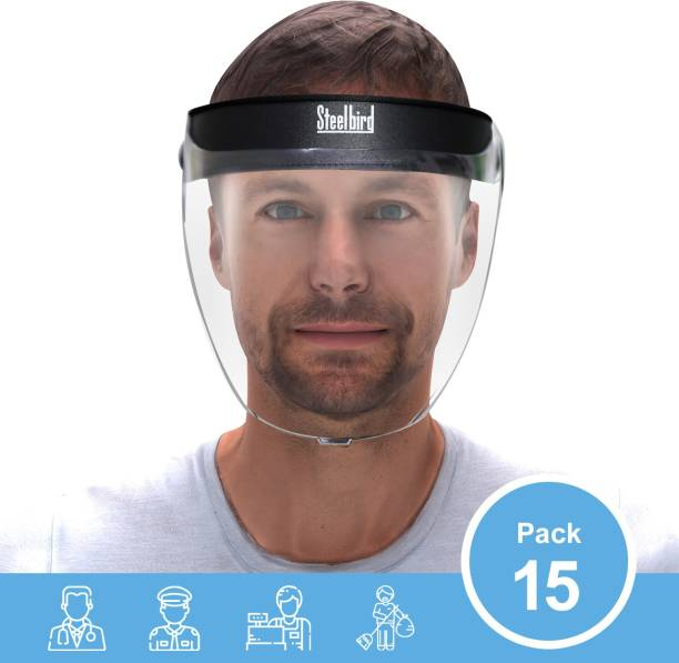 Steelbird SBA-2 Face Shield, Face Protection Shield, Full Face Protector For All Front Line Warriors ( Doctors, Nurses, Police, Shopkeepers, Any Staff ) - Protects ( Pack Of 15 ) Safety Visor