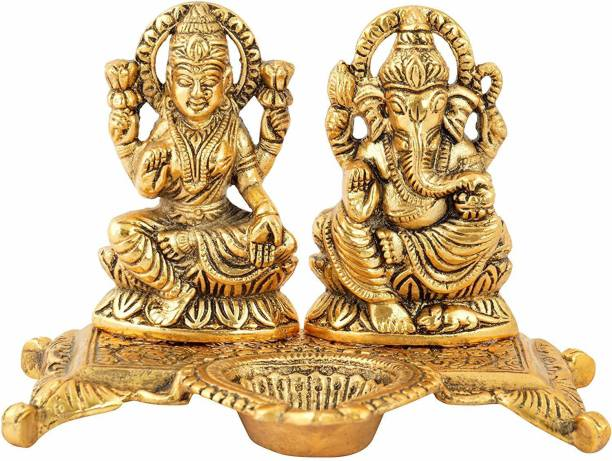 Chhariya Crafts Laxmi Ganesh With Diya Statue Idol Murti in Metal Decorative Showpiece  -  15 cm