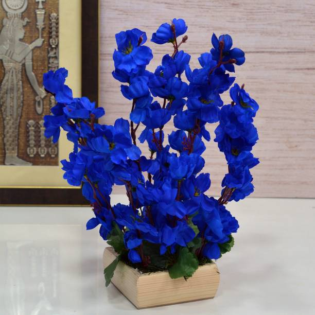 Flipkart Perfect Homes Blue Cherry Blosoom Artificial Flower in Wooden Pot Wild Artificial Plant  with Pot