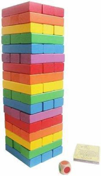 UNIQUE CREATION Blocks, Tower, Wooden Jenga Toys with Dices (54 Pcs) (Multicolor)