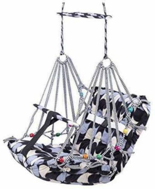 Givni Mart New Cotton Baby Swing for Kids Baby's Children Folding and Washable 1-7 Years with Safety Belt Home Garden Jhula for Babies for Indoor Outdoor Swings (Multicolor) Swings