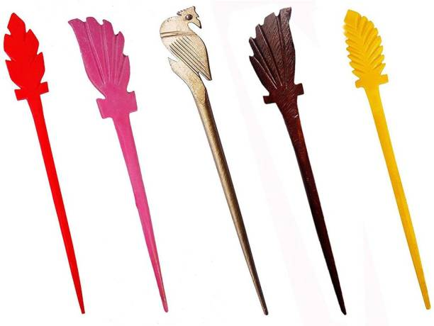 salvusappsolutions Marble Made Multicolor Hair Stick Set for Women Hair Accessory Set