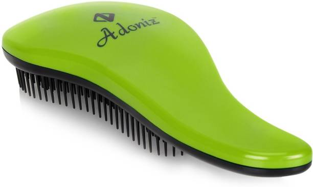 ADONIZ DETANGLER HAIR BRUSH WITH HANDLE (GREEN)