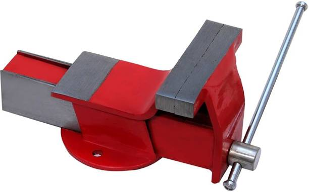gizmo Germany base (6inches) professional heavy steel Iron Bench Vice Fixed Base, Red (152mm) Multi Vise Tool